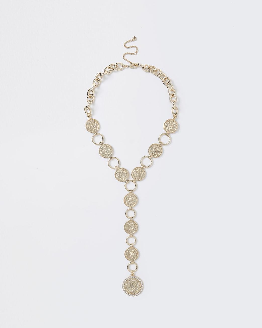 Gold colour diamante coin necklace