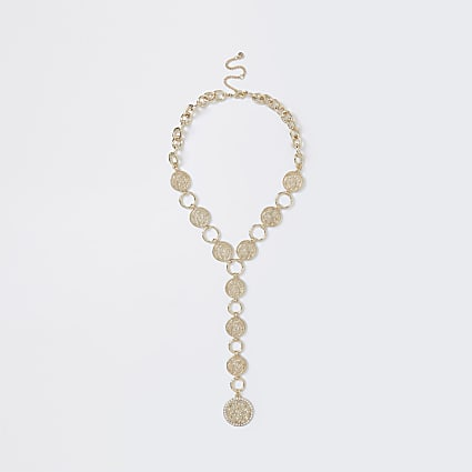 Gold colour diamante coin necklace