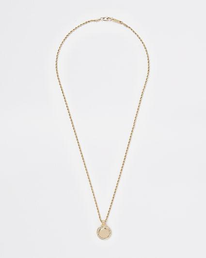 Gold colour diamante coin pendant necklace