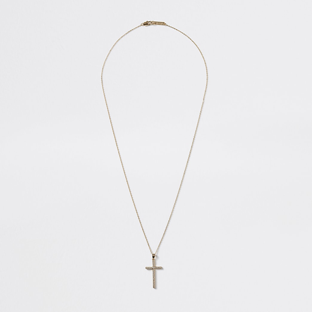 Gold colour diamante cross pendant necklace