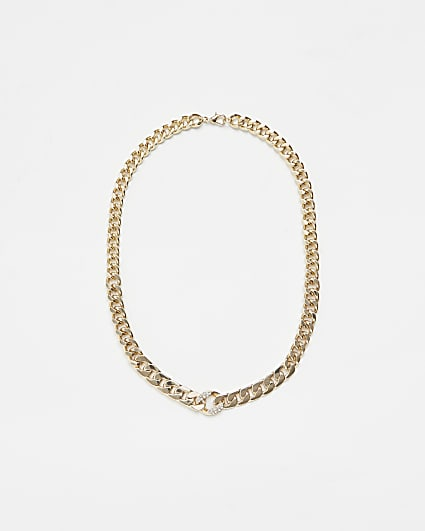 Gold colour diamante detail chain necklace