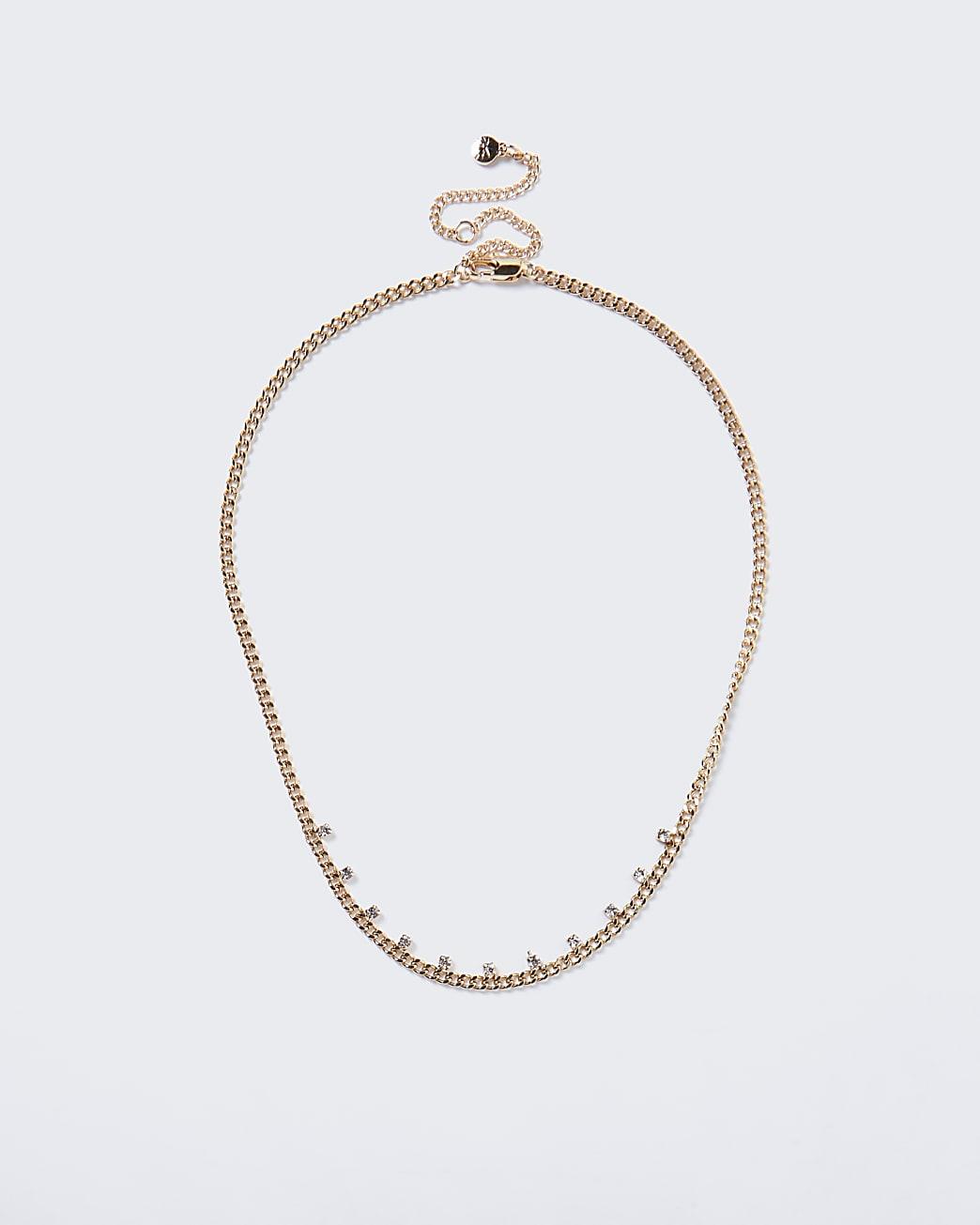 Gold colour diamante detail choker necklace