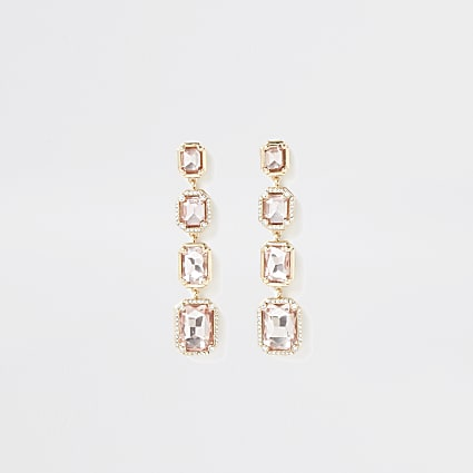 Gold colour diamante drop earrings
