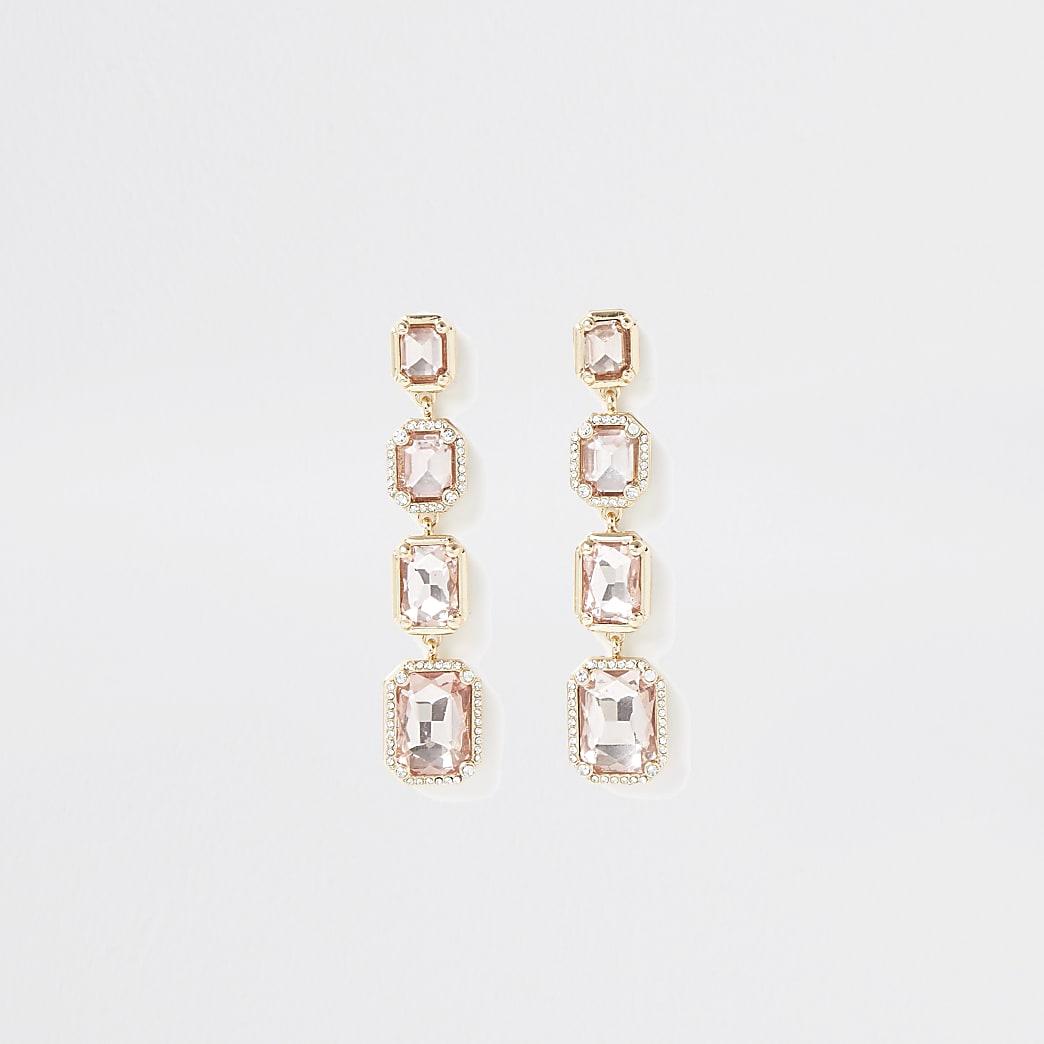 Gold colour diamante drop earrings