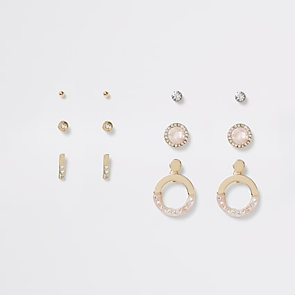 Gold colour diamante earring 6 pack