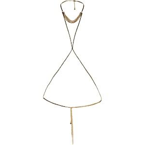 Gold colour diamante harness body chain