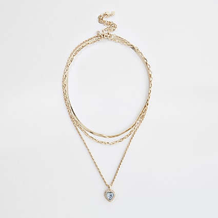 Gold colour diamante heart layered necklace