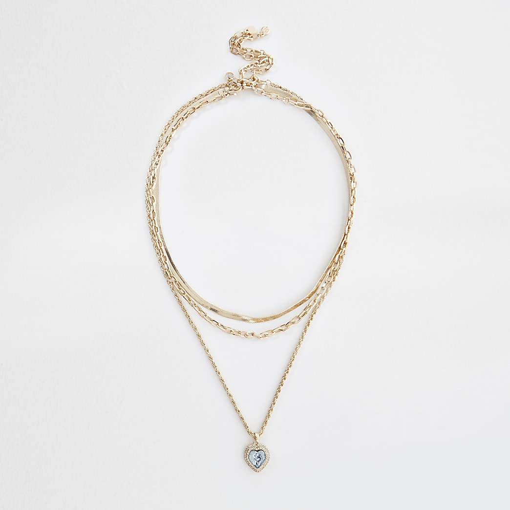 Gold colour diamante heart layered necklace