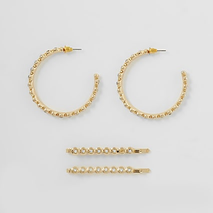 Gold colour diamante hoop and hairclip pack