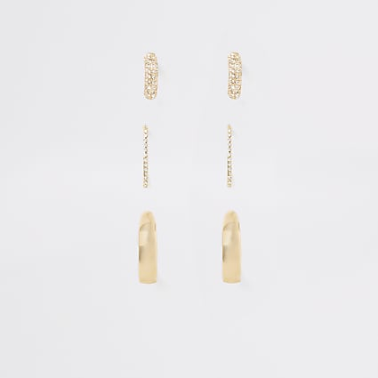 Gold colour diamante hoop earrings 3 pack