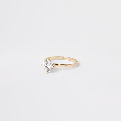 Gold colour diamante jewel ring