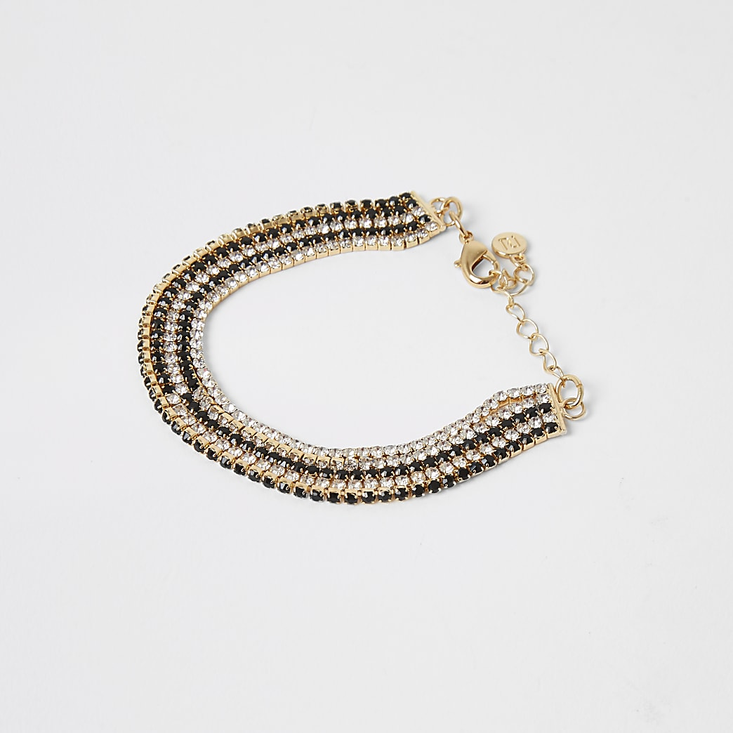 Gold colour diamante layered bracelet