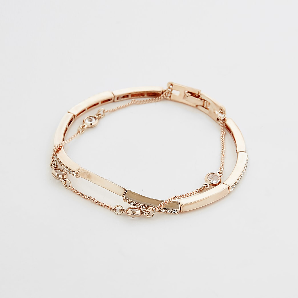 Gold colour diamante layered cuff bracelet