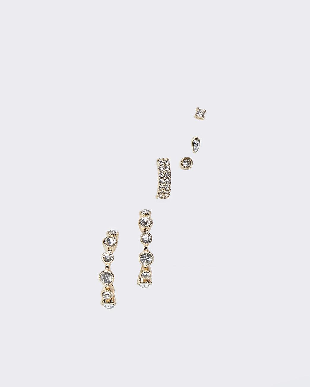 Gold colour diamante mix earrings 5 pack