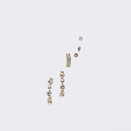 Gold colour diamante mix earrings 5 pack