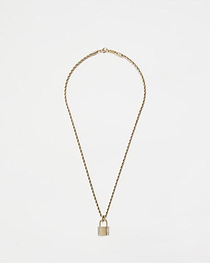 Gold colour diamante padlock pendant necklace