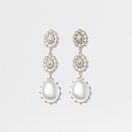 Gold colour diamante pearl drop earrings