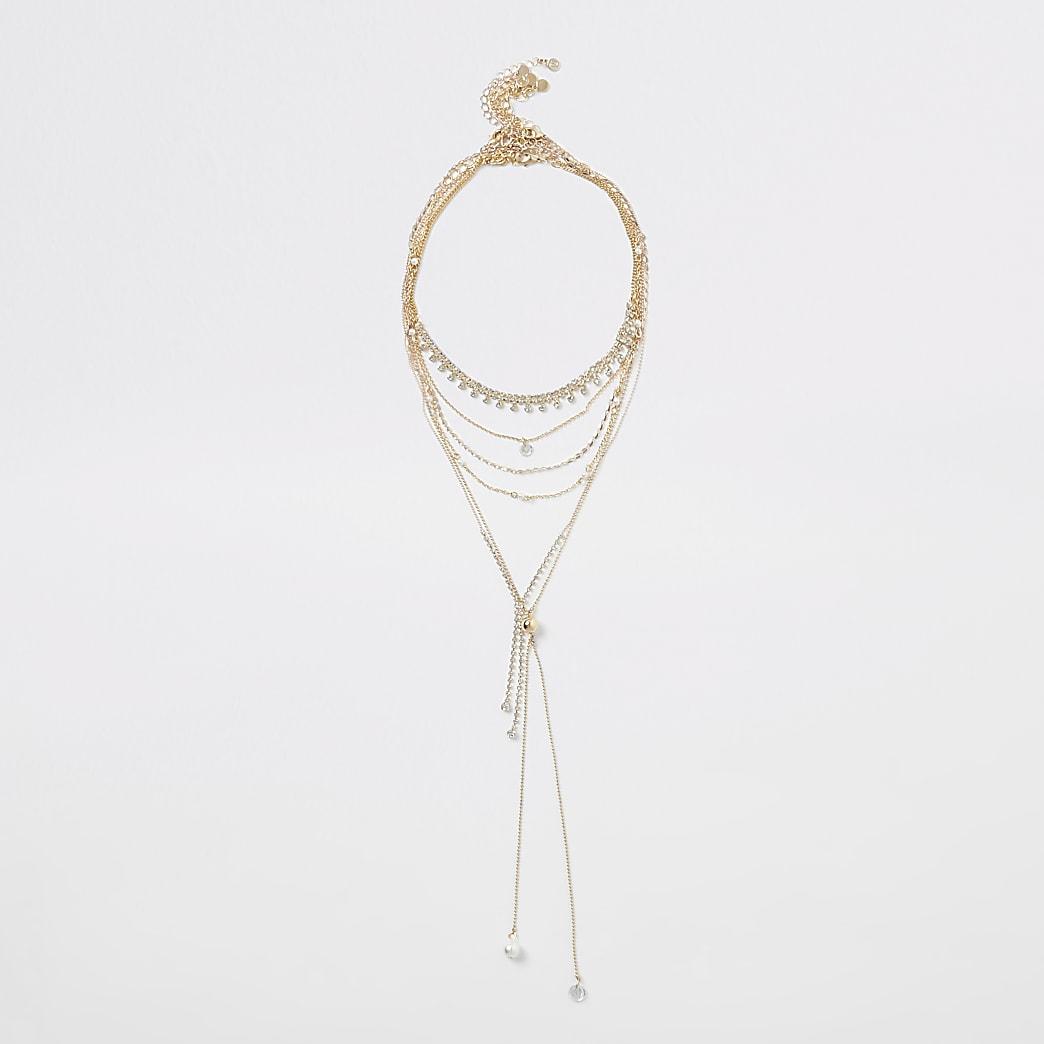 Gold colour diamante pearl layered necklace