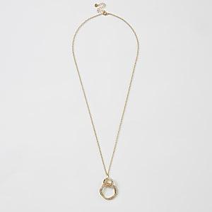 Goldfarbene Halskette mit Strassanhänger