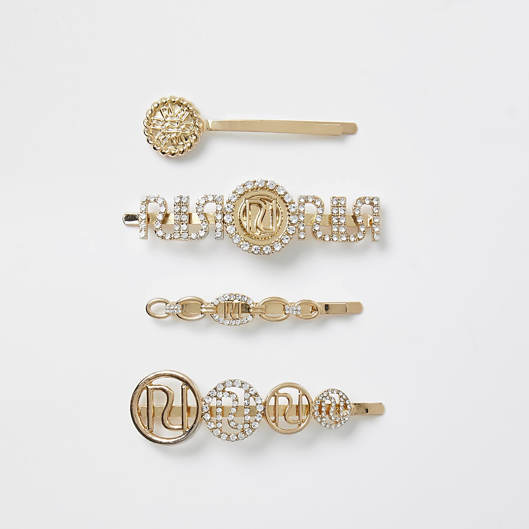 Gold colour diamante 'RIR' hair slides 4 pack