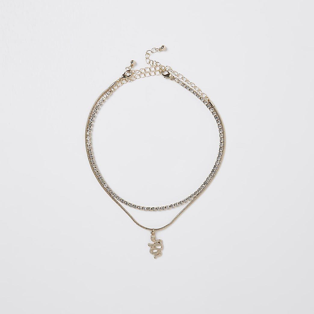 Gold colour diamante snake choker 2 pack