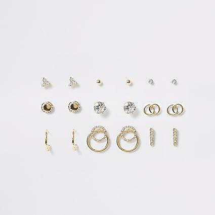 Gold colour diamante stud earring mutlipack