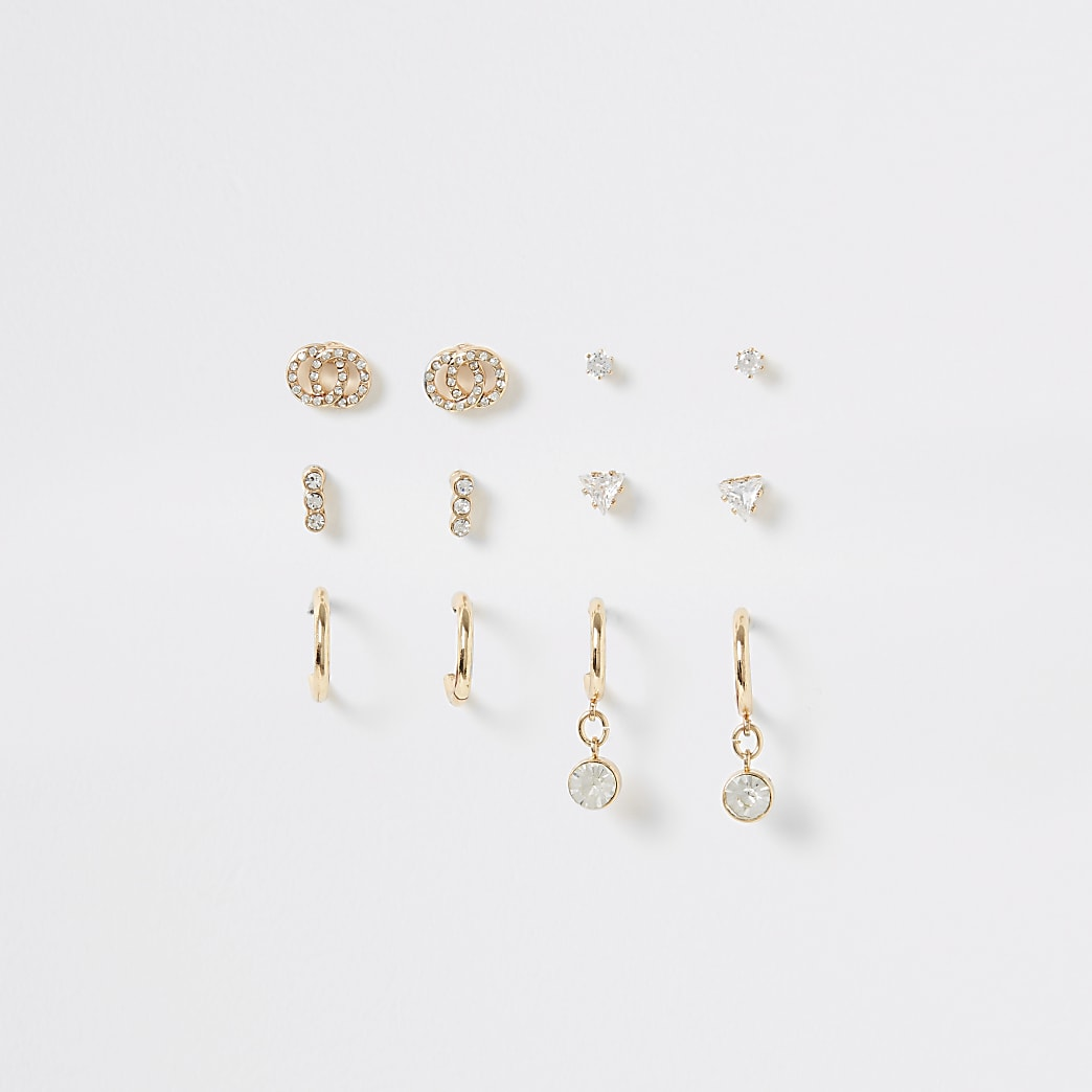 Gold colour diamante stud earrings 6 pack