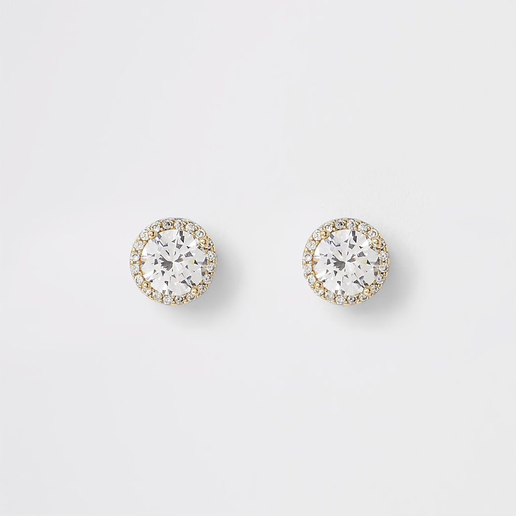 Gold colour diamante stud earrings