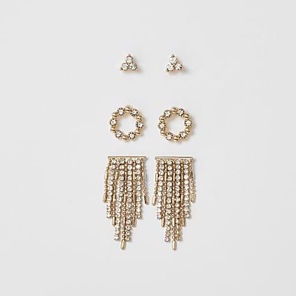 Gold colour diamante tassel earring 3 pack
