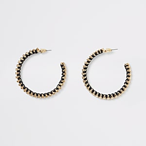 Gold colour diamante woven hoop earrings