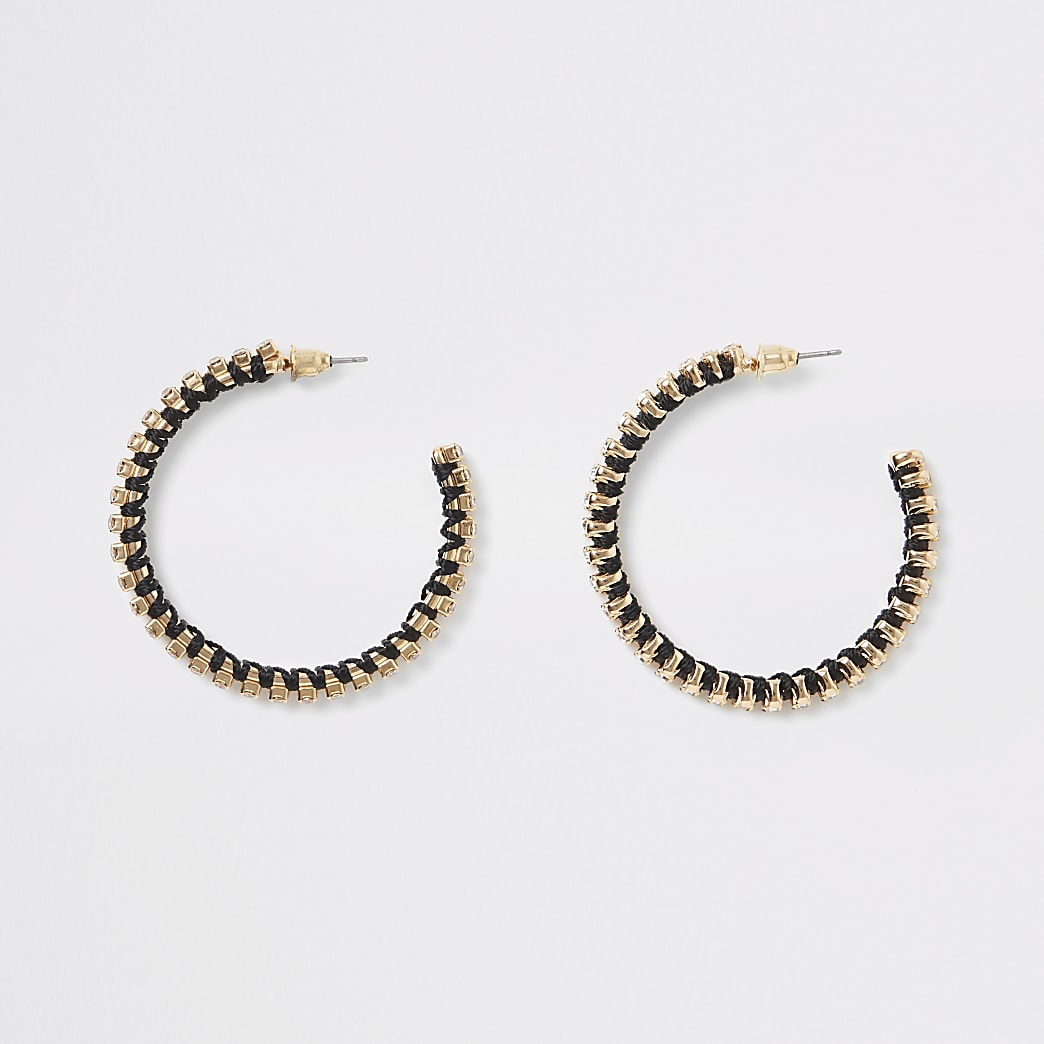 Gold colour diamante woven hoop earrings