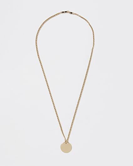 Gold colour disk pendant necklace