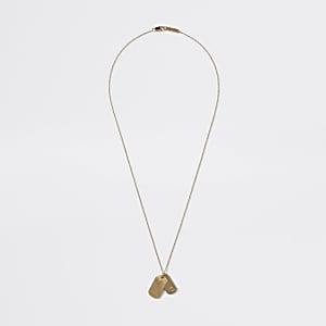 Gold colour dog tag pendant necklace