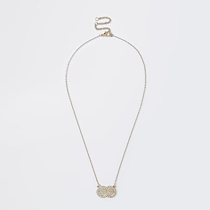 Gold colour double pave coin necklace