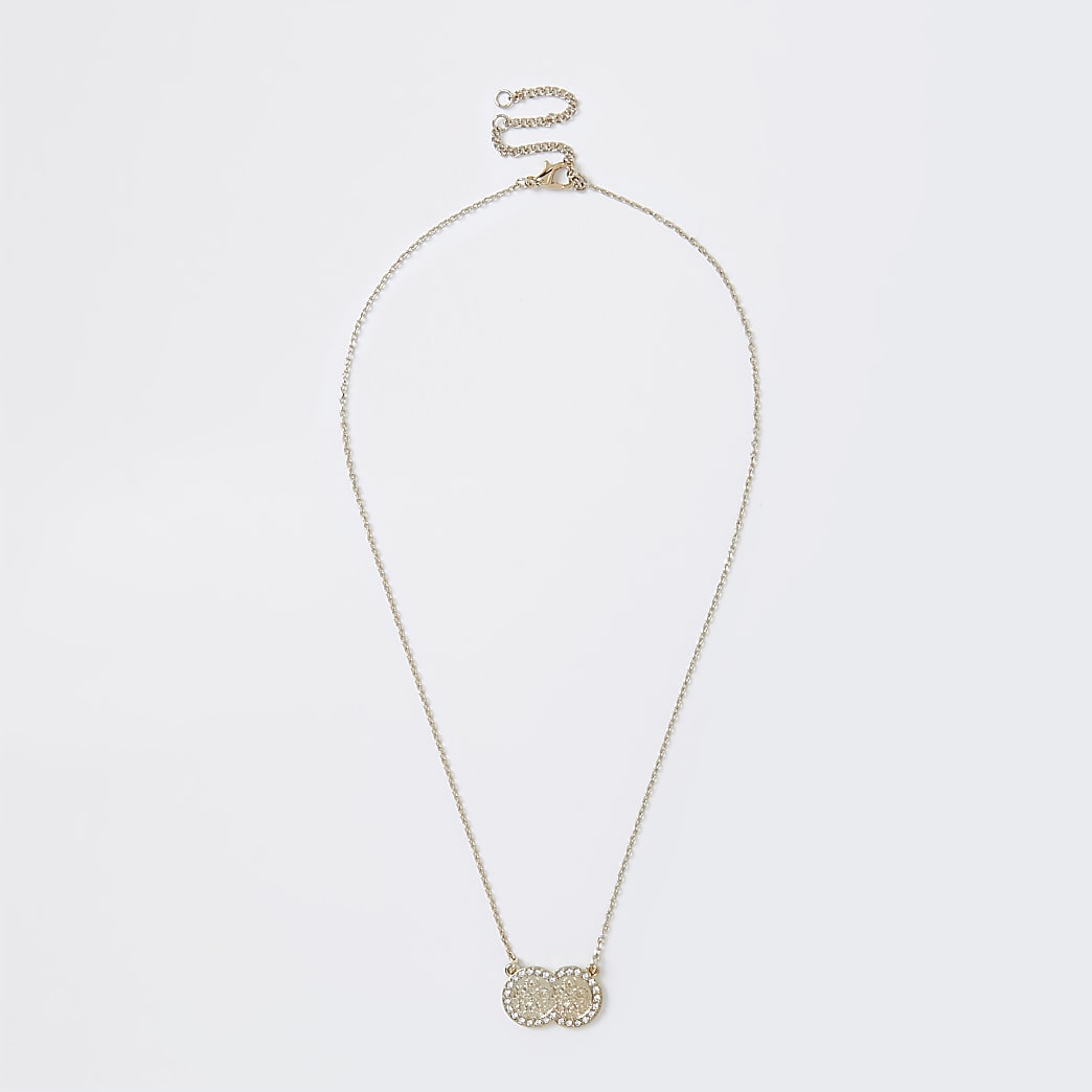Gold colour double pave coin necklace