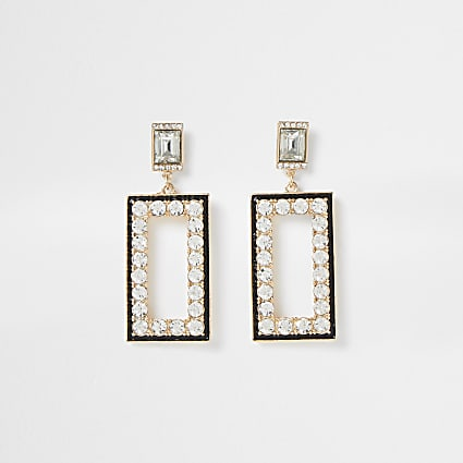 Gold colour drop diamante detail earrings