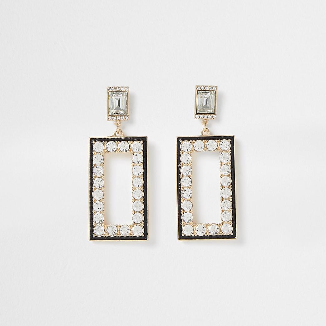 Gold colour drop diamante detail earrings
