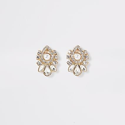 Gold colour embellish teardrop stud earrings