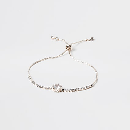 Gold colour embellished adjustable bracelet