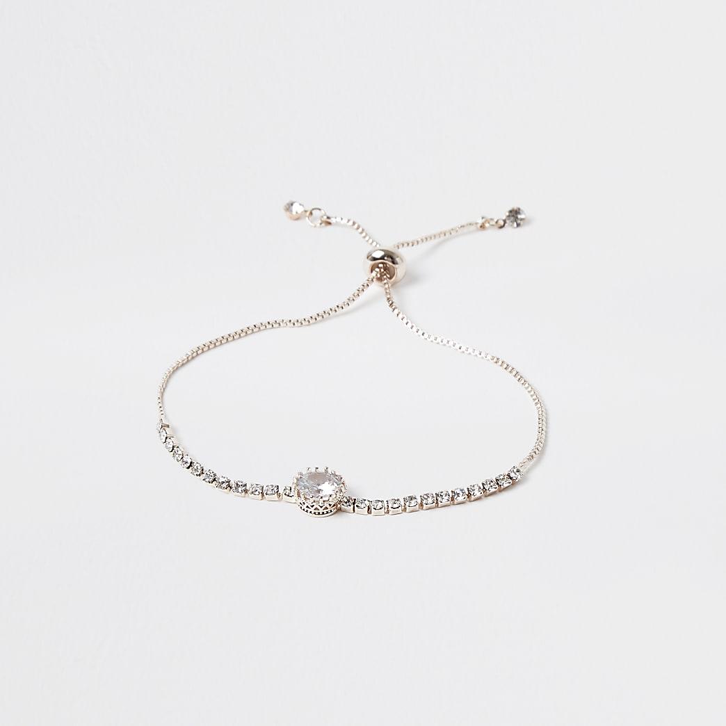 Gold colour embellished adjustable bracelet