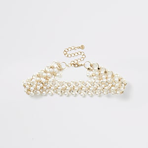Gold colour embellished choker necklace