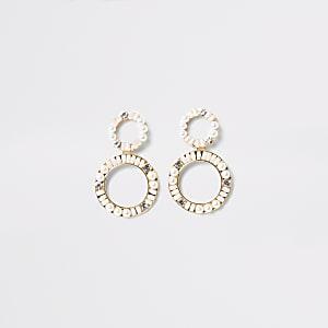 Goldene, runde Hängeohrringe mit Strass und Perlen