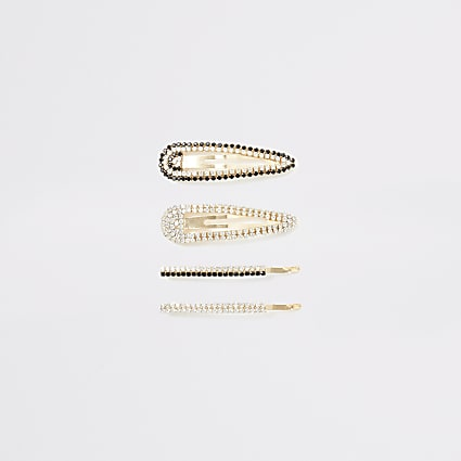 Gold colour embellished hair clip 4 pack