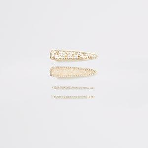 Strass-Haarclips in Gold, 4er-Set
