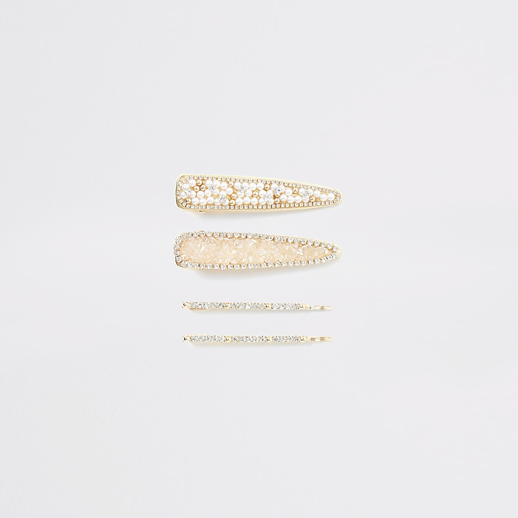 Gold colour embellished hair clips 4 pack