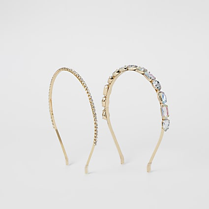 Gold colour embellished headband 2 pack