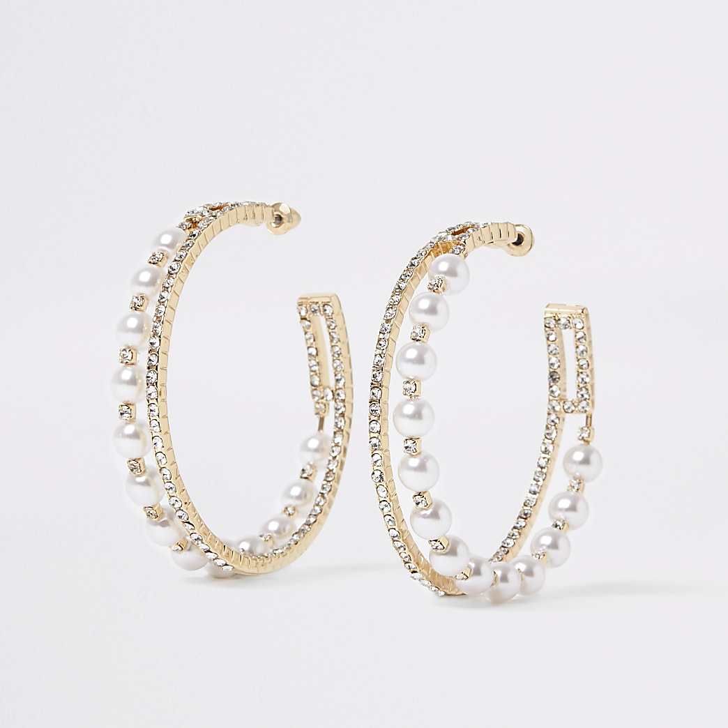 Gold colour embellished layered hoop earrings