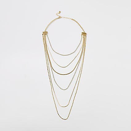 Gold colour embellished layered necklace