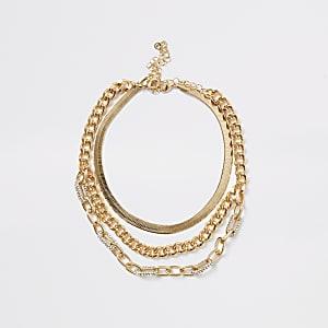 Mehrreihige Halskette in Gold mit Strassverzierung