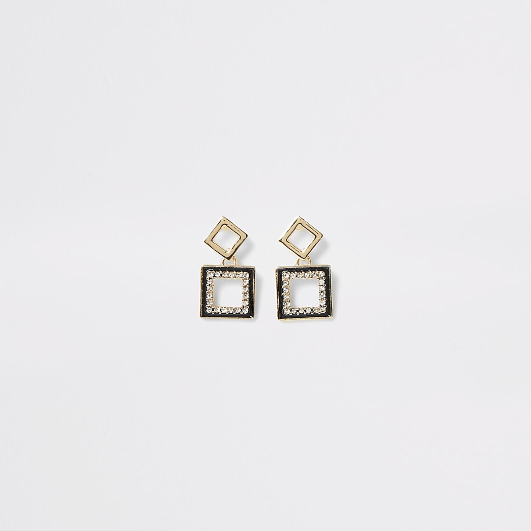 Gold colour embellished square drop earrings